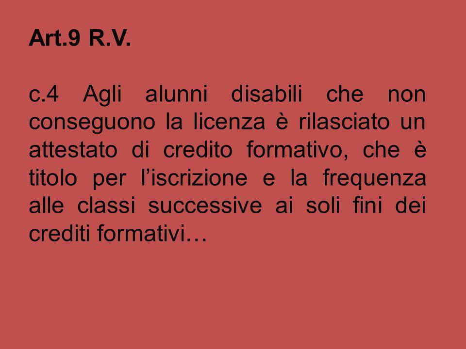 Art.9 R.V. c.4 Agli alunni disabili che non conseguono la licenza è rilasciato un attestato di credito formativo, che è titolo per liscrizione e la fr