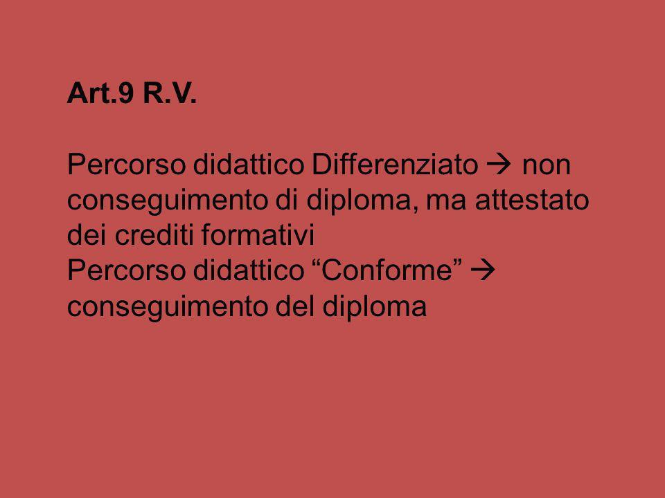 Art.9 R.V. Percorso didattico Differenziato non conseguimento di diploma, ma attestato dei crediti formativi Percorso didattico Conforme conseguimento