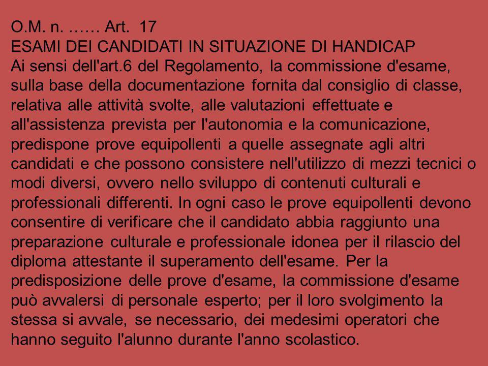 O.M. n. …… Art. 17 ESAMI DEI CANDIDATI IN SITUAZIONE DI HANDICAP Ai sensi dell'art.6 del Regolamento, la commissione d'esame, sulla base della documen