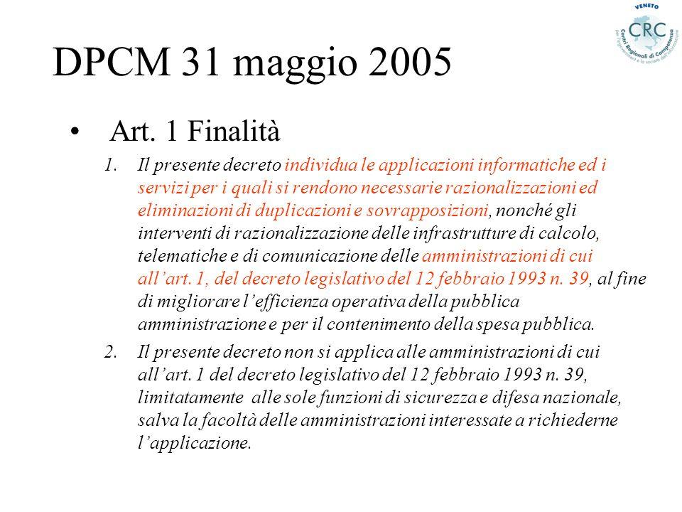 DPCM 31 maggio 2005 Art. 1 Finalità 1.Il presente decreto individua le applicazioni informatiche ed i servizi per i quali si rendono necessarie razion