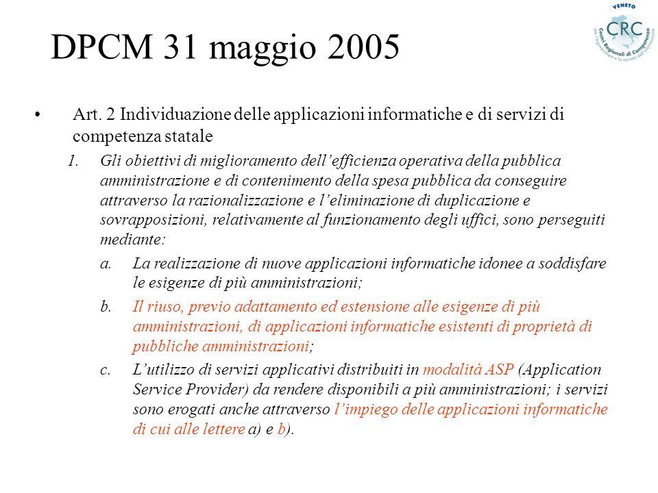 Art. 2 Individuazione delle applicazioni informatiche e di servizi di competenza statale 1.Gli obiettivi di miglioramento dellefficienza operativa del
