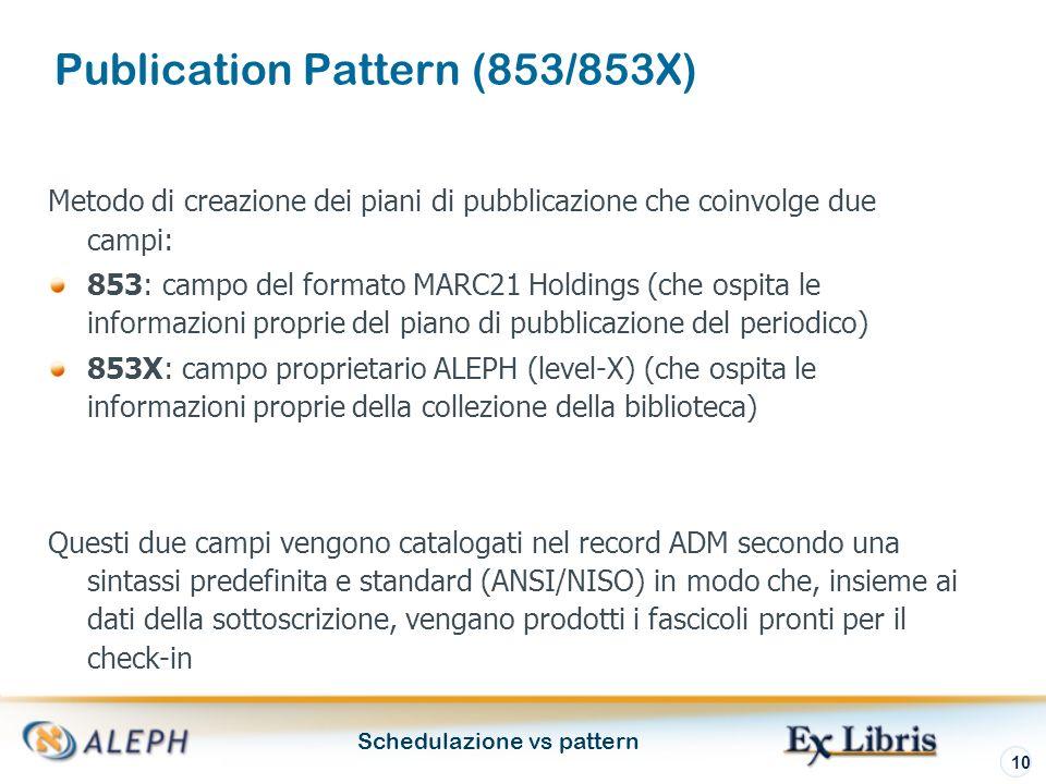 Schedulazione vs pattern 10 Metodo di creazione dei piani di pubblicazione che coinvolge due campi: 853: campo del formato MARC21 Holdings (che ospita le informazioni proprie del piano di pubblicazione del periodico) 853X: campo proprietario ALEPH (level-X) (che ospita le informazioni proprie della collezione della biblioteca) Questi due campi vengono catalogati nel record ADM secondo una sintassi predefinita e standard (ANSI/NISO) in modo che, insieme ai dati della sottoscrizione, vengano prodotti i fascicoli pronti per il check-in Publication Pattern (853/853X)