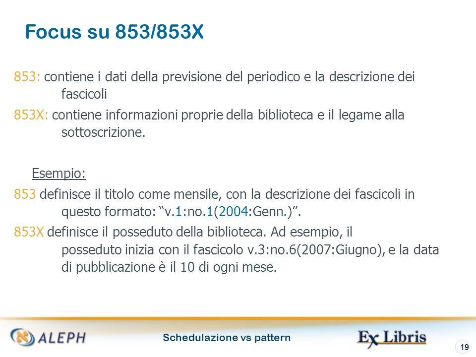 Schedulazione vs pattern 19 853: contiene i dati della previsione del periodico e la descrizione dei fascicoli 853X: contiene informazioni proprie della biblioteca e il legame alla sottoscrizione.