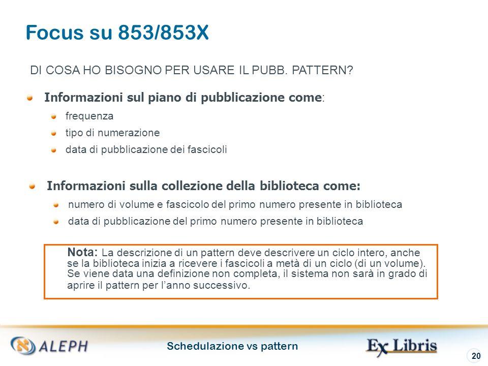 Schedulazione vs pattern 20 Informazioni sul piano di pubblicazione come : frequenza tipo di numerazione data di pubblicazione dei fascicoli DI COSA HO BISOGNO PER USARE IL PUBB.