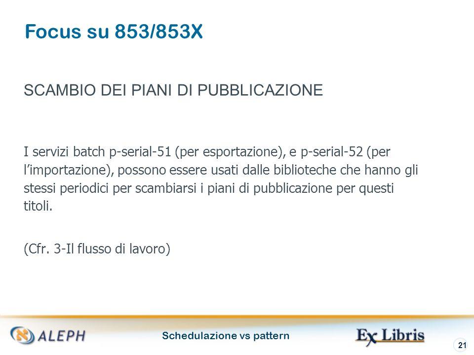Schedulazione vs pattern 21 SCAMBIO DEI PIANI DI PUBBLICAZIONE I servizi batch p-serial-51 (per esportazione), e p-serial-52 (per limportazione), possono essere usati dalle biblioteche che hanno gli stessi periodici per scambiarsi i piani di pubblicazione per questi titoli.