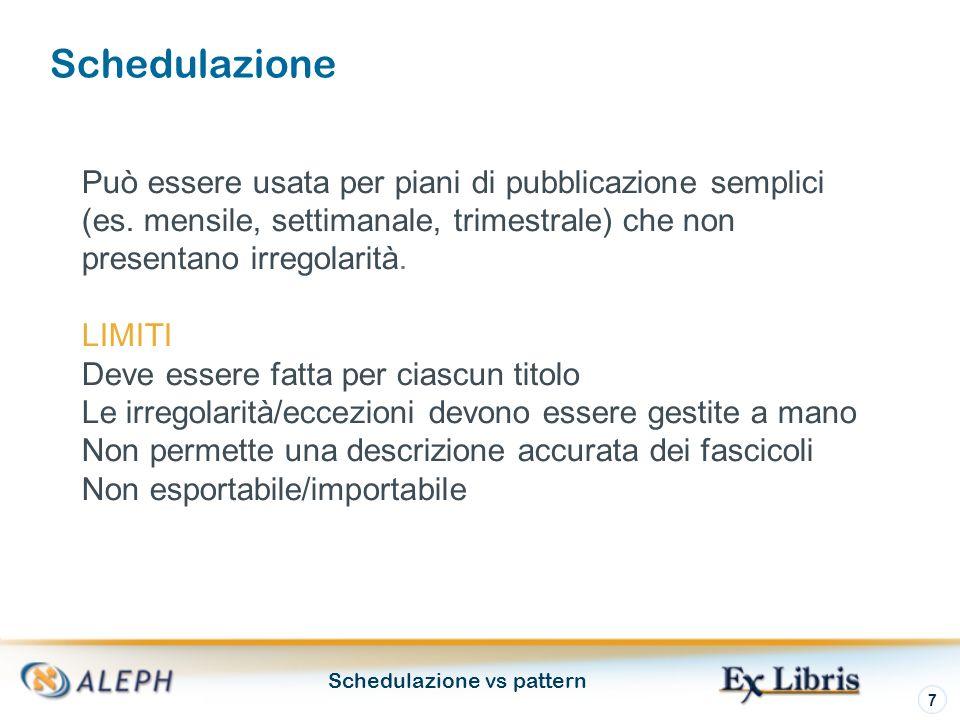 Schedulazione vs pattern 7 Schedulazione Può essere usata per piani di pubblicazione semplici (es.