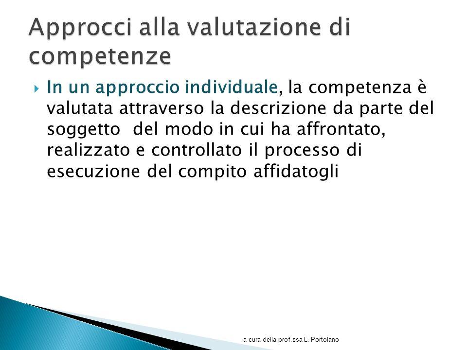 In un approccio individuale, la competenza è valutata attraverso la descrizione da parte del soggetto del modo in cui ha affrontato, realizzato e cont