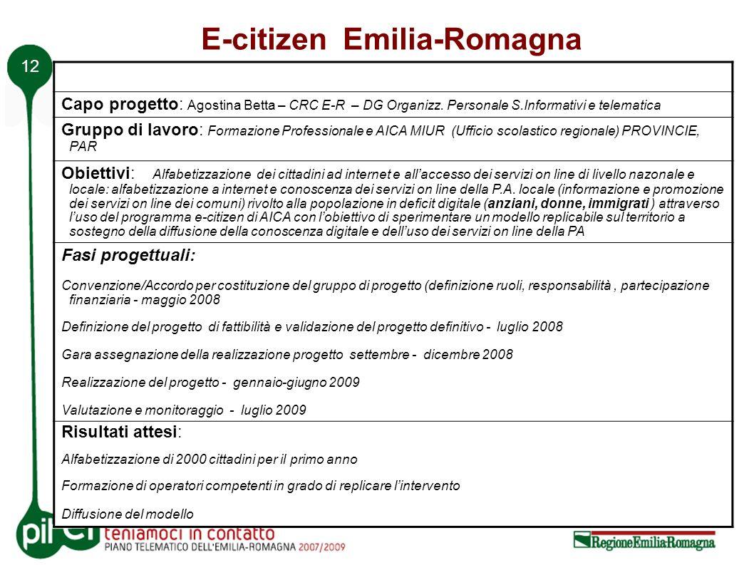 12 E-citizen Emilia-Romagna Capo progetto: Agostina Betta – CRC E-R – DG Organizz.