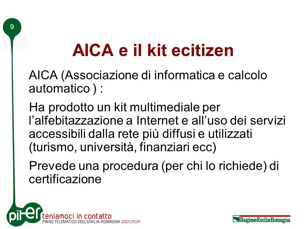 9 AICA e il kit ecitizen AICA (Associazione di informatica e calcolo automatico ) : Ha prodotto un kit multimediale per lalfebitazzazione a Internet e alluso dei servizi accessibili dalla rete più diffusi e utilizzati (turismo, università, finanziari ecc) Prevede una procedura (per chi lo richiede) di certificazione