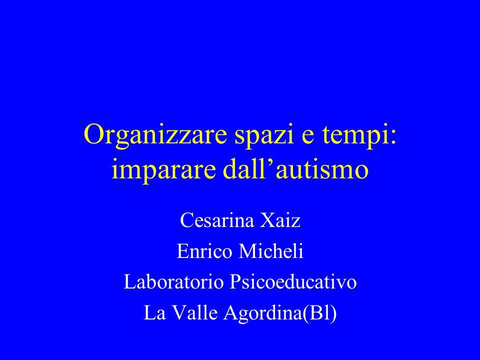 Organizzare spazi e tempi: imparare dallautismo Cesarina Xaiz Enrico Micheli Laboratorio Psicoeducativo La Valle Agordina(Bl)