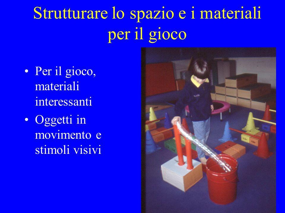 Strutturare lo spazio e i materiali per il gioco Per il gioco, materiali interessanti Oggetti in movimento e stimoli visivi