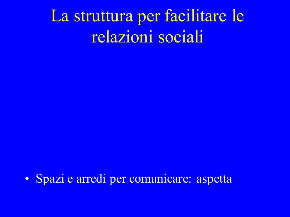 La struttura per facilitare le relazioni sociali Spazi e arredi per comunicare: aspetta