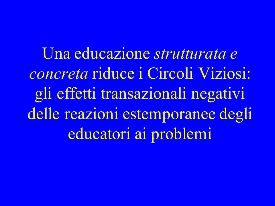 Una educazione strutturata e concreta riduce i Circoli Viziosi: gli effetti transazionali negativi delle reazioni estemporanee degli educatori ai prob