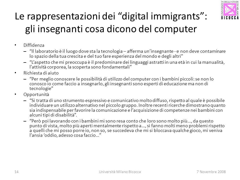 14Università Milano Bicocca7 Novembre 2008 Le rappresentazioni dei digital immigrants: gli insegnanti cosa dicono del computer Diffidenza – Il laborat