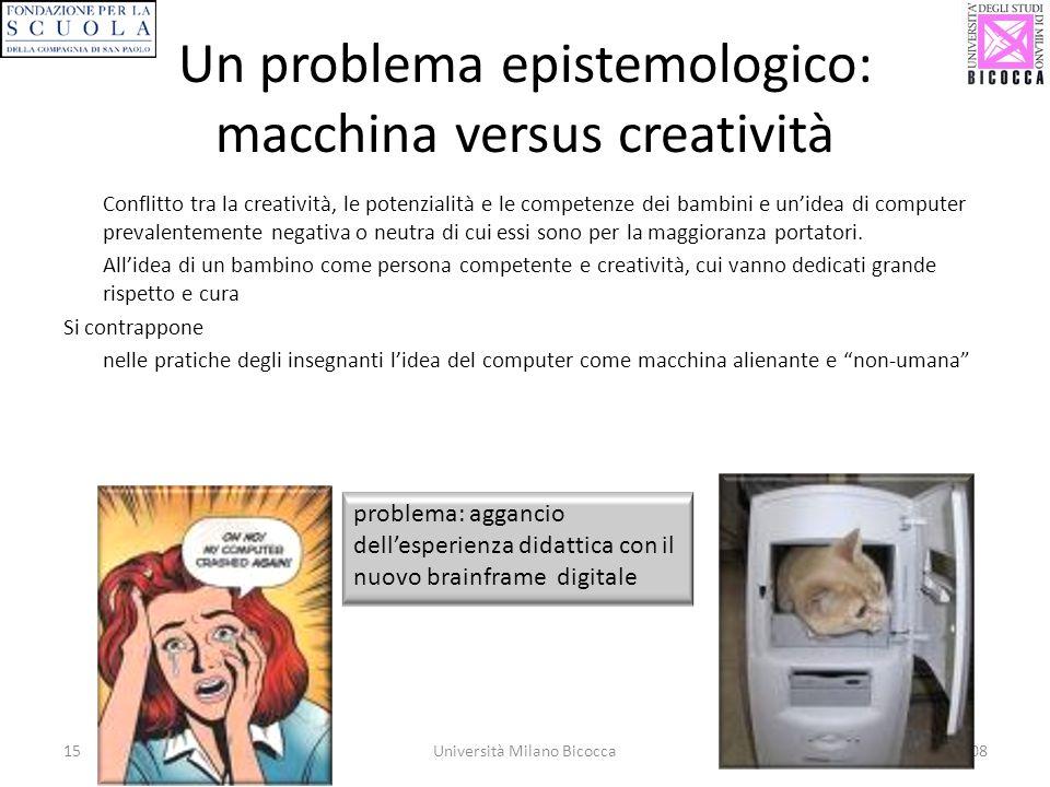 15Università Milano Bicocca7 Novembre 2008 Un problema epistemologico: macchina versus creatività Conflitto tra la creatività, le potenzialità e le co