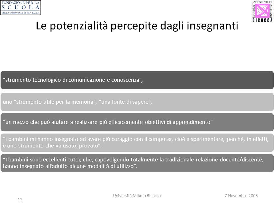 17 Università Milano Bicocca7 Novembre 2008 Le potenzialità percepite dagli insegnanti strumento tecnologico di comunicazione e conoscenza,uno strumen