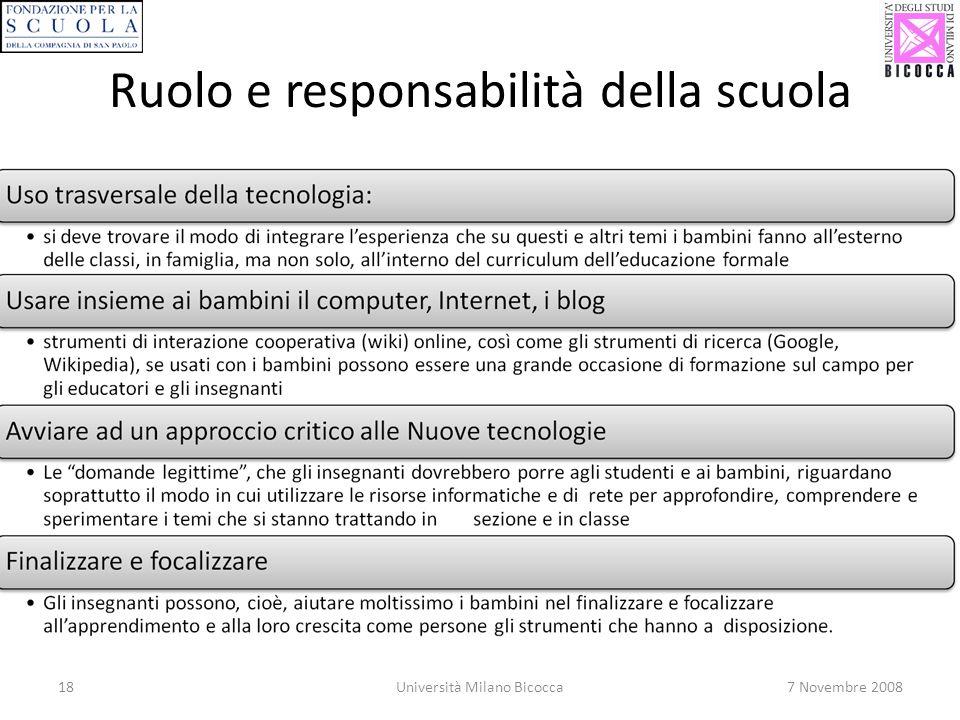 18Università Milano Bicocca7 Novembre 2008 Ruolo e responsabilità della scuola