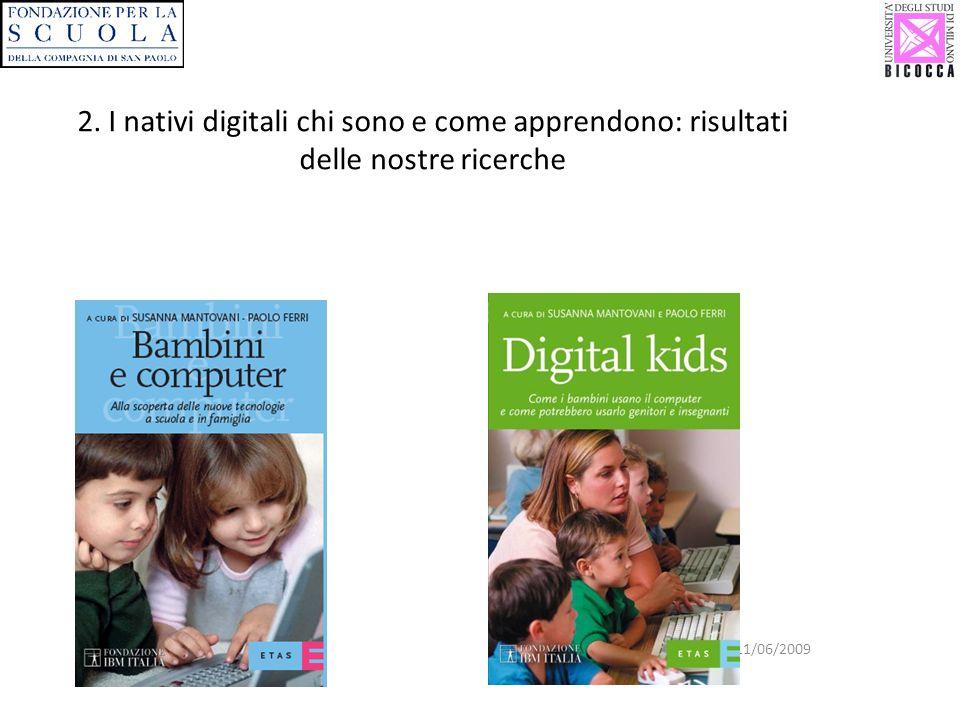 Biblioteca di Vimercate 11/06/2009 2. I nativi digitali chi sono e come apprendono: risultati delle nostre ricerche