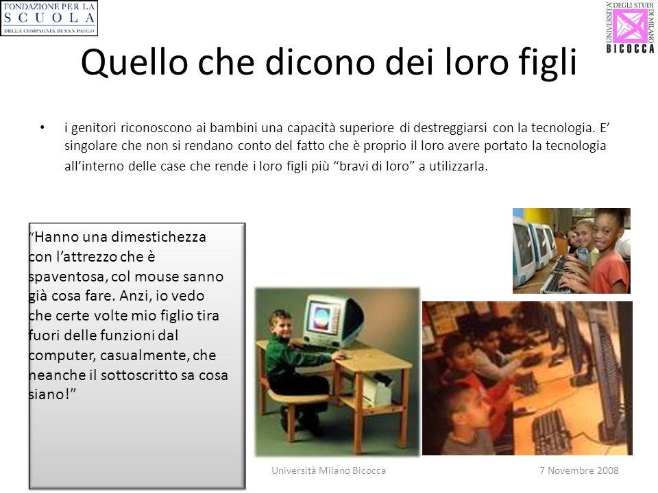21Università Milano Bicocca7 Novembre 2008 Quello che dicono dei loro figli i genitori riconoscono ai bambini una capacità superiore di destreggiarsi con la tecnologia.