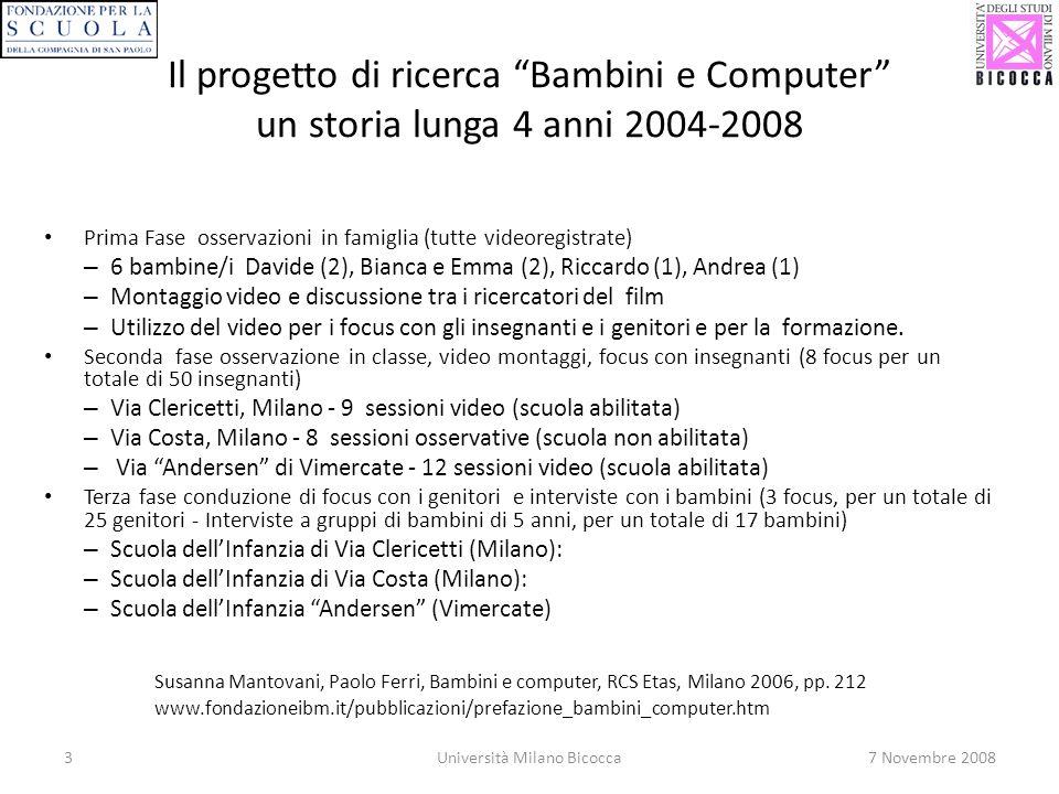 3Università Milano Bicocca7 Novembre 2008 Il progetto di ricerca Bambini e Computer un storia lunga 4 anni 2004-2008 Susanna Mantovani, Paolo Ferri, Bambini e computer, RCS Etas, Milano 2006, pp.