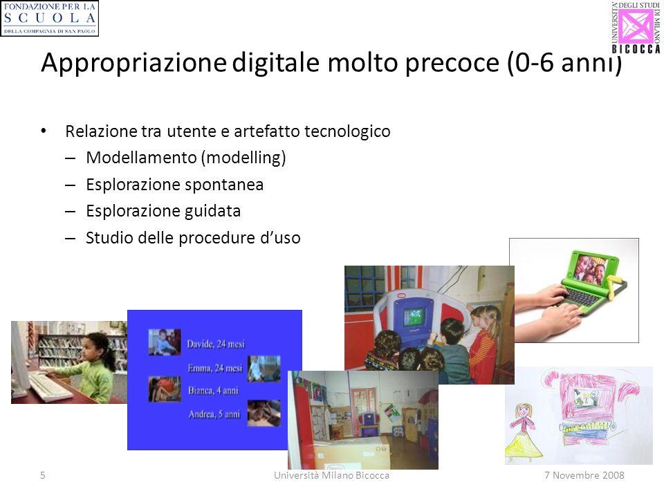 5Università Milano Bicocca7 Novembre 2008 Appropriazione digitale molto precoce (0-6 anni) Relazione tra utente e artefatto tecnologico – Modellamento (modelling) – Esplorazione spontanea – Esplorazione guidata – Studio delle procedure duso