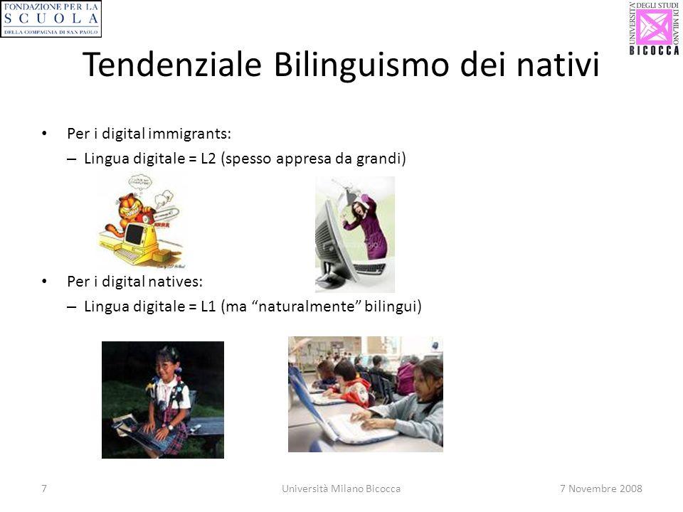 7Università Milano Bicocca7 Novembre 2008 Tendenziale Bilinguismo dei nativi Per i digital immigrants: – Lingua digitale = L2 (spesso appresa da grandi) Per i digital natives: – Lingua digitale = L1 (ma naturalmente bilingui)