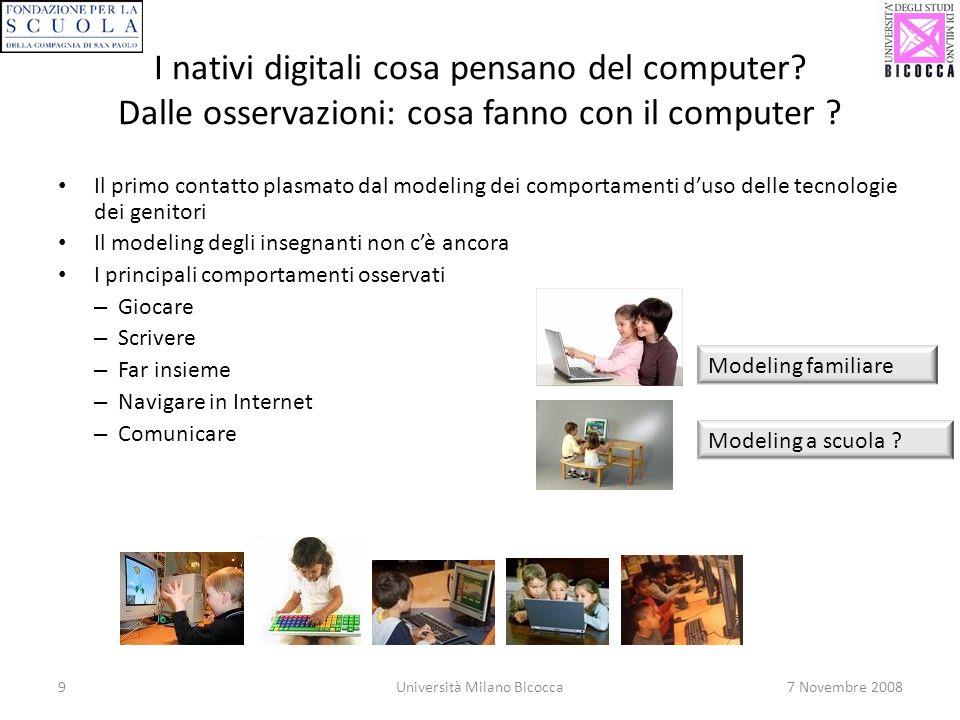 9Università Milano Bicocca7 Novembre 2008 I nativi digitali cosa pensano del computer? Dalle osservazioni: cosa fanno con il computer ? Il primo conta