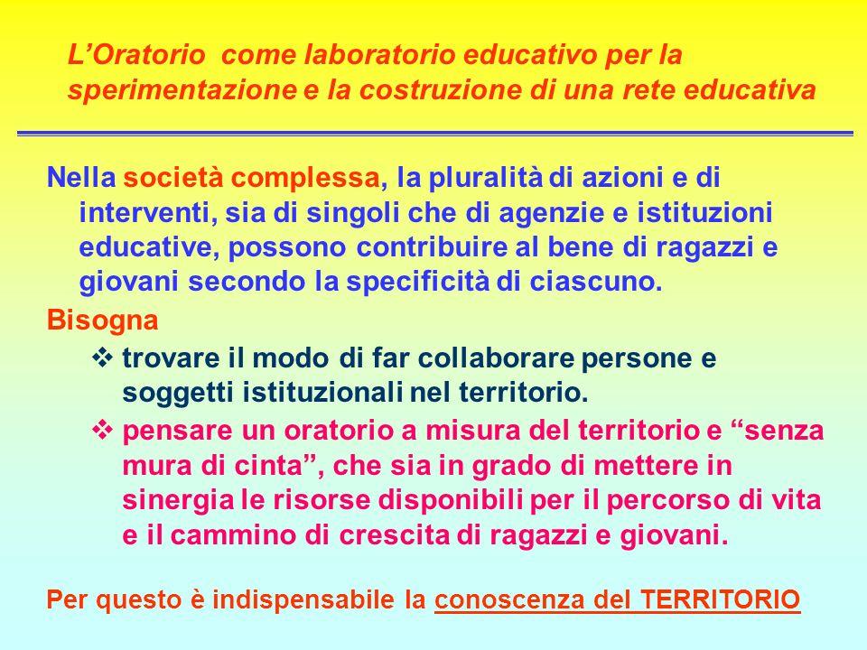 LOratorio come laboratorio educativo per la sperimentazione e la costruzione di una rete educativa Nella società complessa, la pluralità di azioni e d