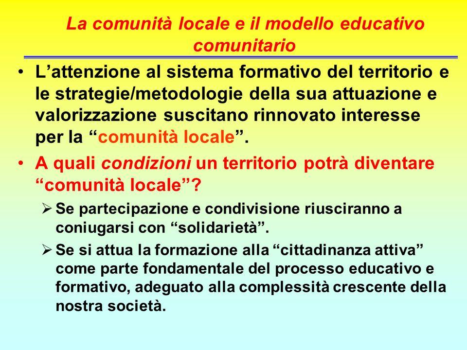 La comunità locale e il modello educativo comunitario Lattenzione al sistema formativo del territorio e le strategie/metodologie della sua attuazione