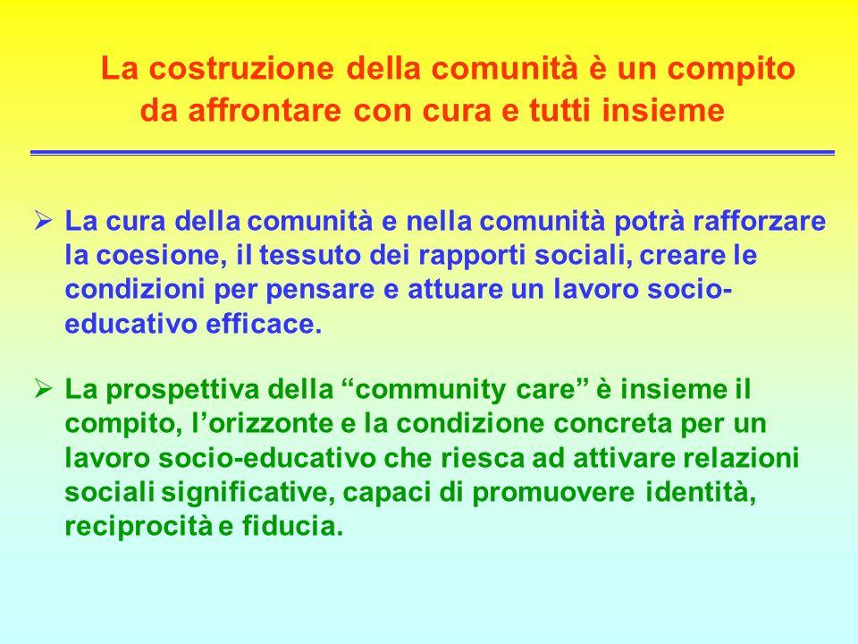 La costruzione della comunità è un compito da affrontare con cura e tutti insieme La cura della comunità e nella comunità potrà rafforzare la coesione