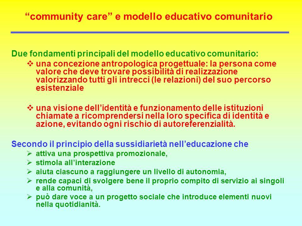 community care e modello educativo comunitario Due fondamenti principali del modello educativo comunitario: una concezione antropologica progettuale: