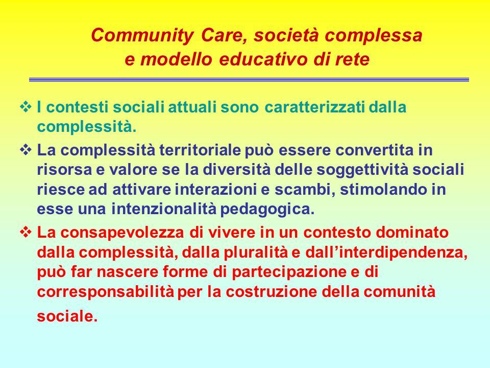 Community Care, società complessa e modello educativo di rete I contesti sociali attuali sono caratterizzati dalla complessità. La complessità territo