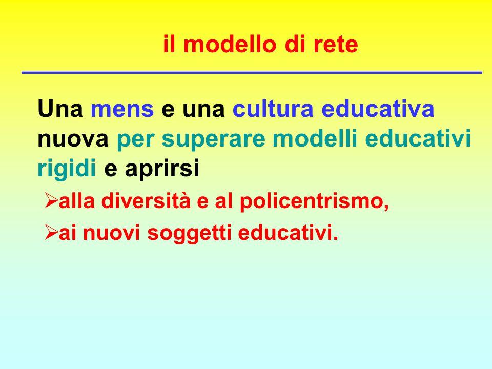 il modello di rete Una mens e una cultura educativa nuova per superare modelli educativi rigidi e aprirsi alla diversità e al policentrismo, ai nuovi