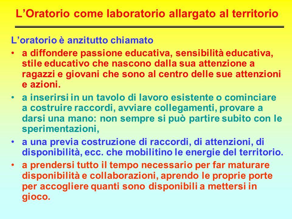 LOratorio come laboratorio allargato al territorio Loratorio è anzitutto chiamato a diffondere passione educativa, sensibilità educativa, stile educat