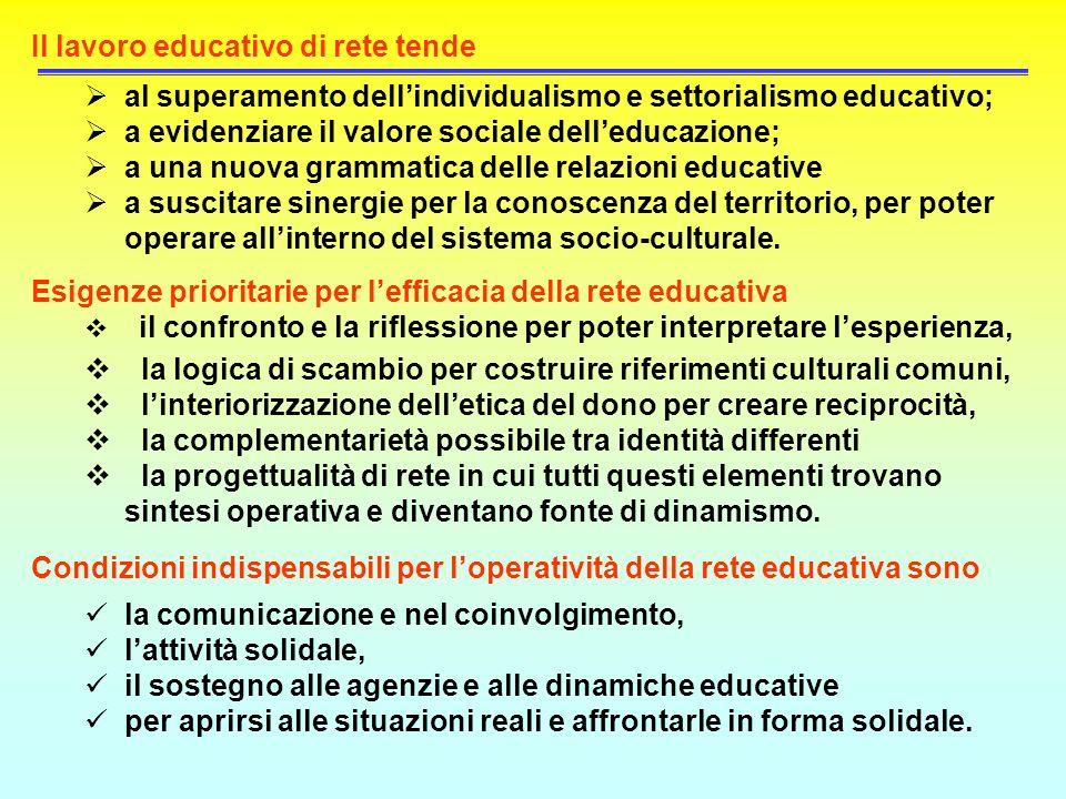 Il lavoro educativo di rete tende al superamento dellindividualismo e settorialismo educativo; a evidenziare il valore sociale delleducazione; a una n