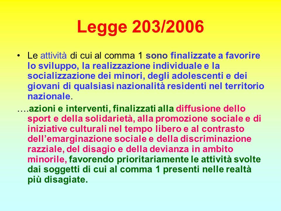 Legge 203/2006 Le attività di cui al comma 1 sono finalizzate a favorire lo sviluppo, la realizzazione individuale e la socializzazione dei minori, de