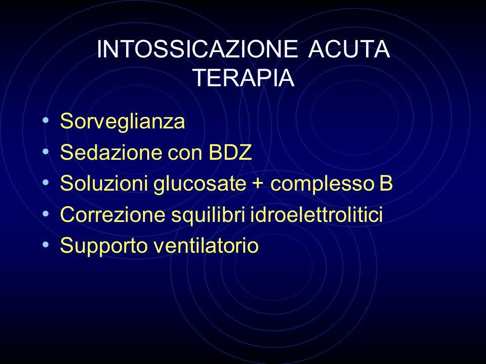 INTOSSICAZIONE ACUTA TERAPIA Sorveglianza Sedazione con BDZ Soluzioni glucosate + complesso B Correzione squilibri idroelettrolitici Supporto ventilat