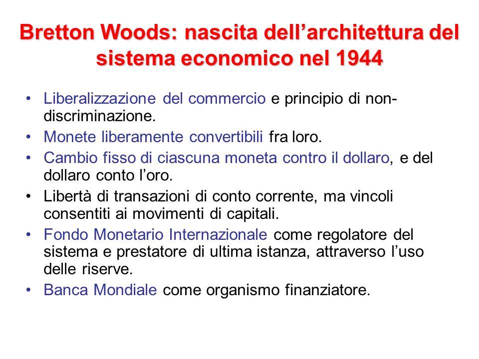 Bretton Woods: nascita dellarchitettura del sistema economico nel 1944 Liberalizzazione del commercio e principio di non- discriminazione. Monete libe