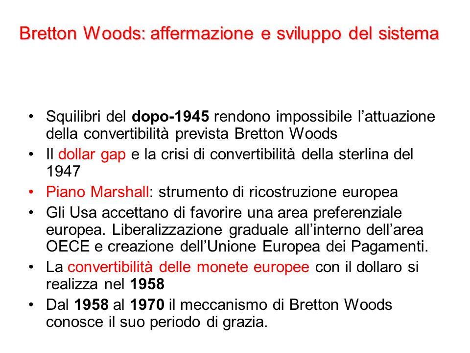 Bretton Woods: affermazione e sviluppo del sistema Squilibri del dopo-1945 rendono impossibile lattuazione della convertibilità prevista Bretton Woods