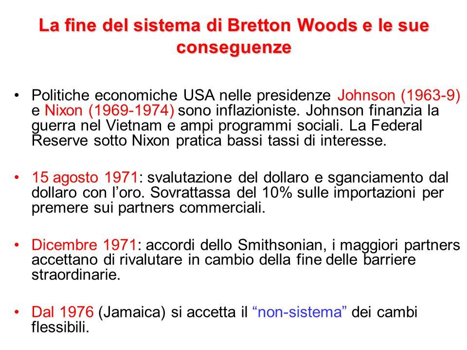 La fine del sistema di Bretton Woods e le sue conseguenze Politiche economiche USA nelle presidenze Johnson (1963-9) e Nixon (1969-1974) sono inflazio