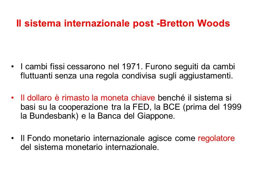 Il sistema internazionale post -Bretton Woods I cambi fissi cessarono nel 1971. Furono seguiti da cambi fluttuanti senza una regola condivisa sugli ag