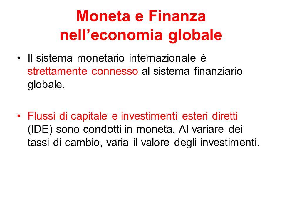 Moneta e Finanza nelleconomia globale Il sistema monetario internazionale è strettamente connesso al sistema finanziario globale. Flussi di capitale e