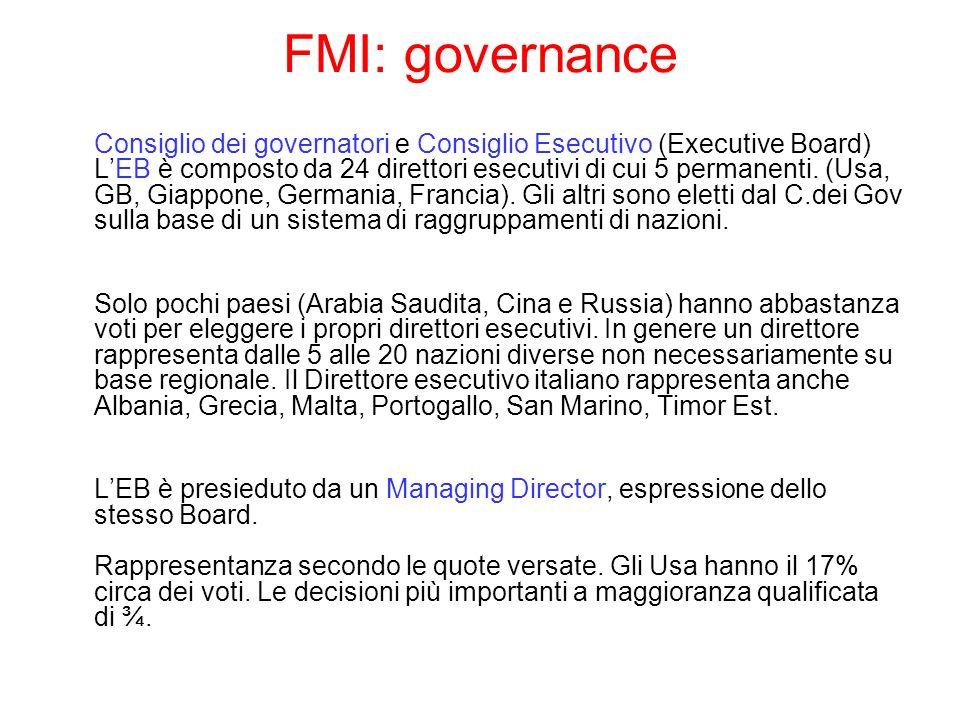 FMI: governance Consiglio dei governatori e Consiglio Esecutivo (Executive Board) LEB è composto da 24 direttori esecutivi di cui 5 permanenti. (Usa,