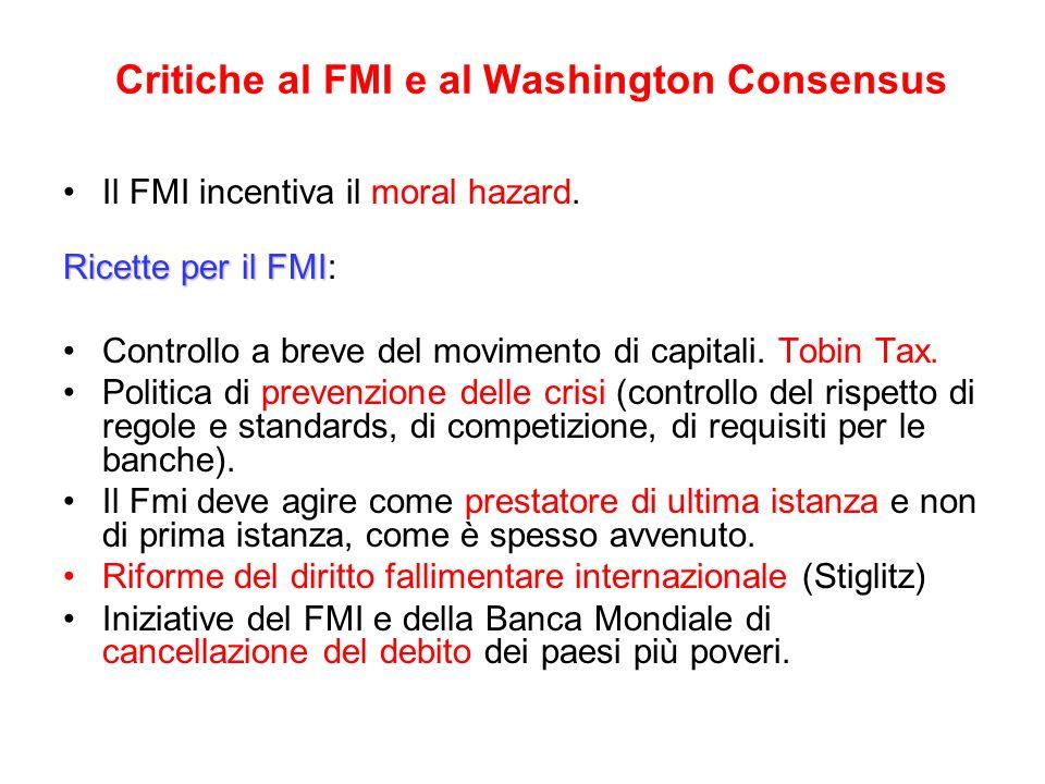 Critiche al FMI e al Washington Consensus Il FMI incentiva il moral hazard. Ricette per il FMI Ricette per il FMI: Controllo a breve del movimento di