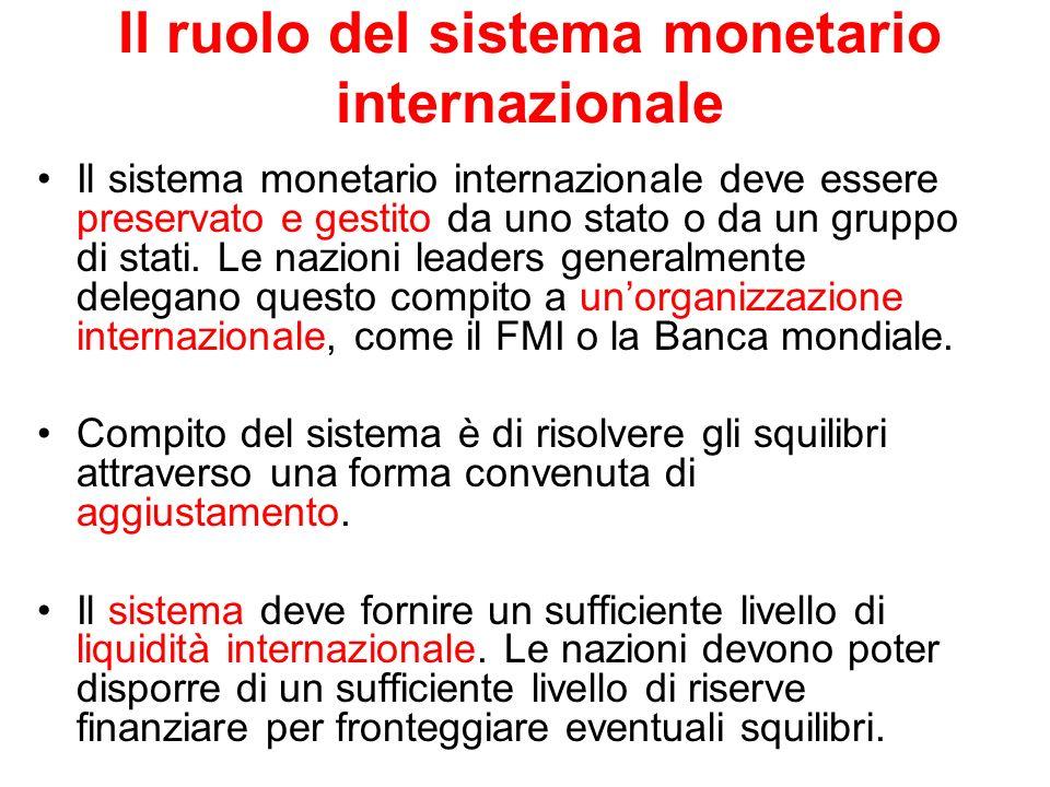 Il ruolo del sistema monetario internazionale Il sistema monetario internazionale deve essere preservato e gestito da uno stato o da un gruppo di stat