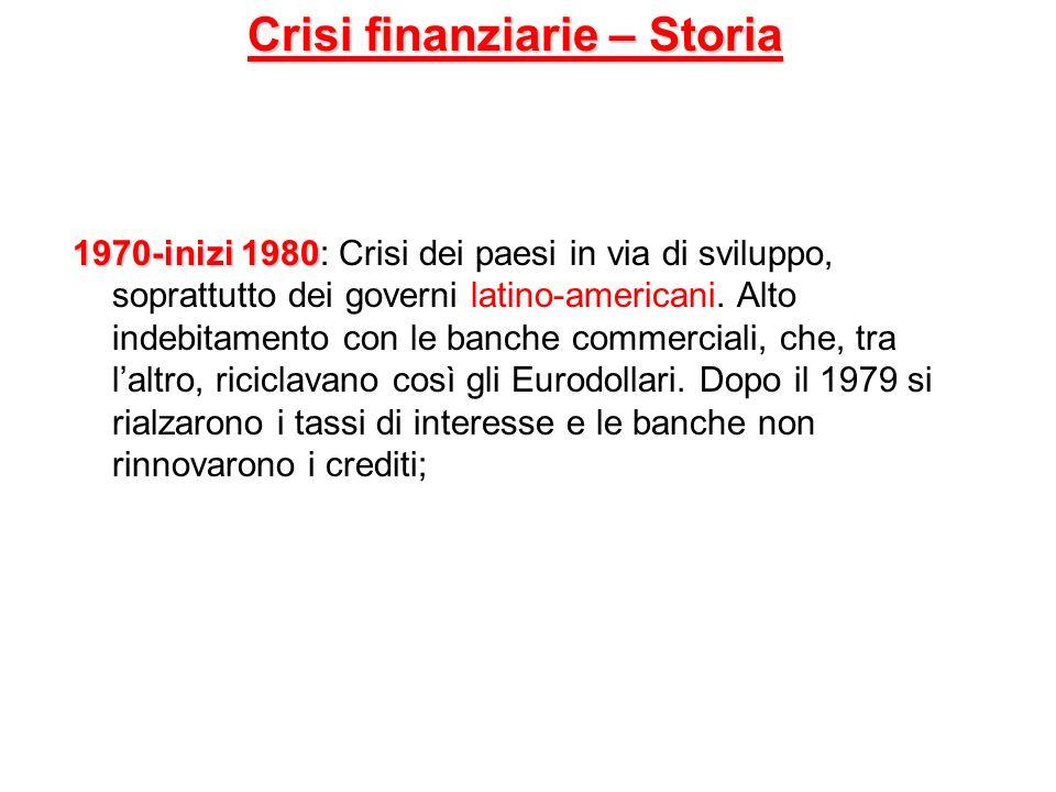Crisi finanziarie – Storia 1970-inizi 1980 1970-inizi 1980: Crisi dei paesi in via di sviluppo, soprattutto dei governi latino-americani. Alto indebit
