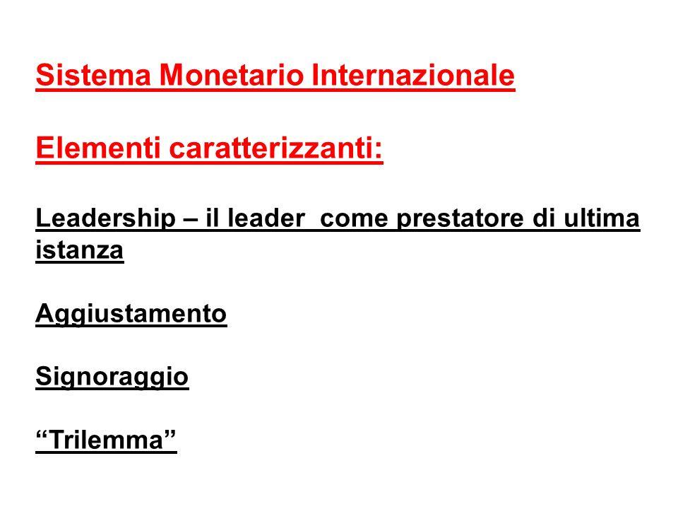 Sistema Monetario Internazionale Elementi caratterizzanti: Leadership – il leader come prestatore di ultima istanza Aggiustamento Signoraggio Trilemma