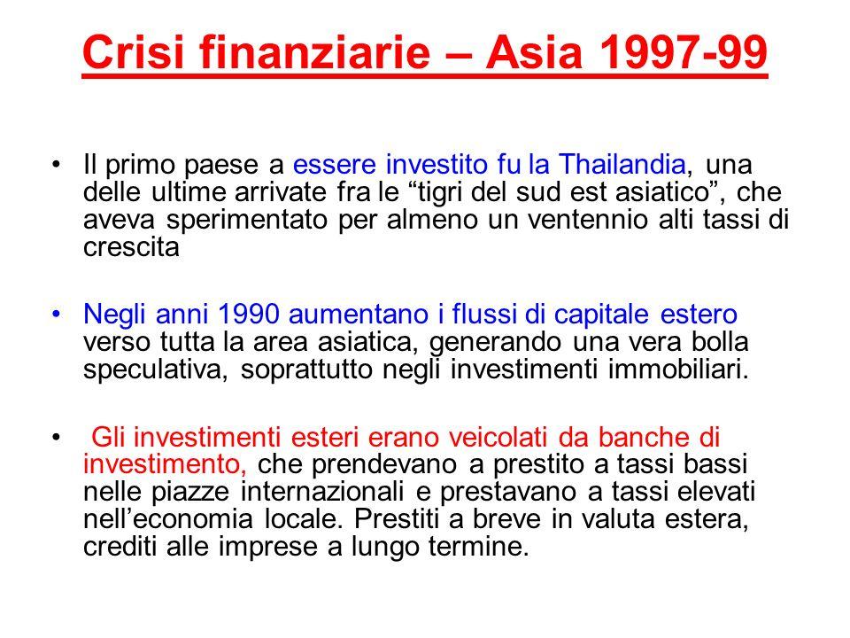 Crisi finanziarie – Asia 1997-99 Il primo paese a essere investito fu la Thailandia, una delle ultime arrivate fra le tigri del sud est asiatico, che
