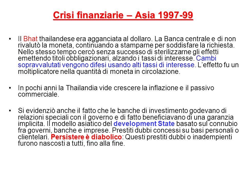 Crisi finanziarie – Asia 1997-99 Il Bhat thailandese era agganciata al dollaro. La Banca centrale e di non rivalutò la moneta, continuando a stamparne