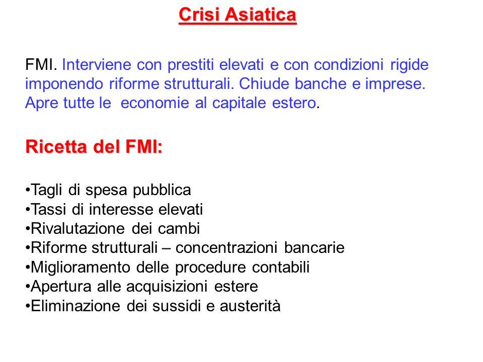Crisi Asiatica FMI. Interviene con prestiti elevati e con condizioni rigide imponendo riforme strutturali. Chiude banche e imprese. Apre tutte le econ